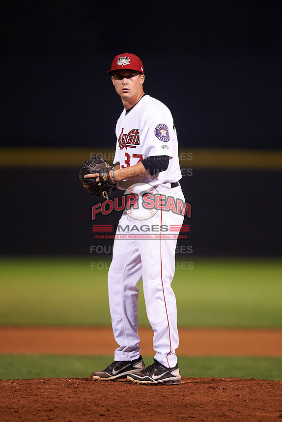 Tri-City ValleyCats pitcher Scott Weathersby (37) gets ready to deliver a pitch during a game against the Brooklyn Cyclones on September 1, 2015 at Joseph L. Bruno Stadium in Troy, New York.  Tri-City defeated Brooklyn 5-4.  (Mike Janes/Four Seam Images)