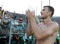 Calcio, Serie A: Bergamo, 20 agosto 2017. <br /> Roma's Edin Dzeko celebrates at the end of the Italian Serie A football match between Atalanta and Roma at Bergamo's Atleti Azzurri d'Italia stadium. August 20, 2017.<br /> UPDATE IMAGES PRESS/Isabella Bonotto