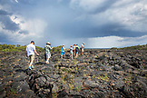 GALAPAGOS ISLANDS, ECUADOR, individuals exploring around around Punta Moreno on Isabela Island