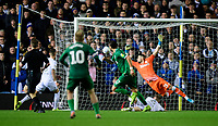 Sheffield Wednesday's Atdhe Nuhiu scores his side's second goal, heading the ball past Leeds United's Francisco Casilla<br /> <br /> Photographer Chris Vaughan/CameraSport<br /> <br /> The EFL Sky Bet Championship - Leeds United v Sheffield Wednesday - Saturday 11th January 2020 - Elland Road - Leeds<br /> <br /> World Copyright © 2020 CameraSport. All rights reserved. 43 Linden Ave. Countesthorpe. Leicester. England. LE8 5PG - Tel: +44 (0) 116 277 4147 - admin@camerasport.com - www.camerasport.com