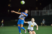 Allston, MA - Saturday Sept. 24, 2016: Kyah Simon, Samantha Mewis during a regular season National Women's Soccer League (NWSL) match between the Boston Breakers and the Western New York Flash at Jordan Field.