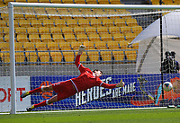 Wellington Phoenix's Zac Jones dives as a shot goes across goal during the ISPS Handa Premiership football match between Wellington Phoenix Reserves and Auckland City FC at Westpac Stadium in Wellington, New Zealand on Saturday, 23 November 2019. Photo: Dave Lintott / lintottphoto.co.nz