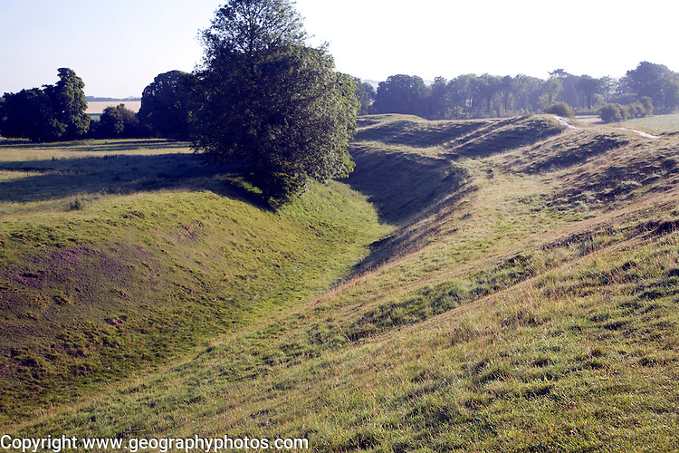 Ditch and bank surrounding the henge at Avebury, Wiltshire, England