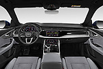 Stock photo of straight dashboard view of a 2019 Audi Q8 S Line 5 Door SUV