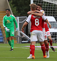 Ched Evans celebrates scoring the opening goal with Kyle Dempsey<br /> <br /> Photographer David Shipman/CameraSport<br /> <br /> The EFL Sky Bet League One - Oxford United v Fleetwood Town - Saturday August 11th 2018 - Kassam Stadium - Oxford<br /> <br /> World Copyright &copy; 2018 CameraSport. All rights reserved. 43 Linden Ave. Countesthorpe. Leicester. England. LE8 5PG - Tel: +44 (0) 116 277 4147 - admin@camerasport.com - www.camerasport.com