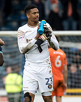 Penalty save hero Goalkeeper Jamal Blackman of Wycombe Wanderers (on loan from Chelsea) after the Sky Bet League 2 match between Wycombe Wanderers and Blackpool at Adams Park, High Wycombe, England on the 11th March 2017. Photo by Liam McAvoy.