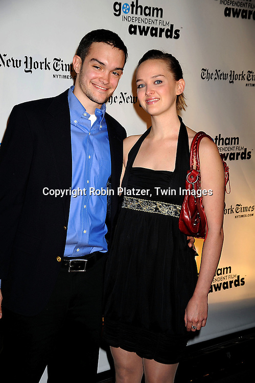 Jess Weixler and boyfriend Isaac..posing for photographers at the 18th Annual Gotham Independent Film Awards at Cipriani Wall Street on December 2, 2008 in New York. ....Robin Platzer, Twin Images