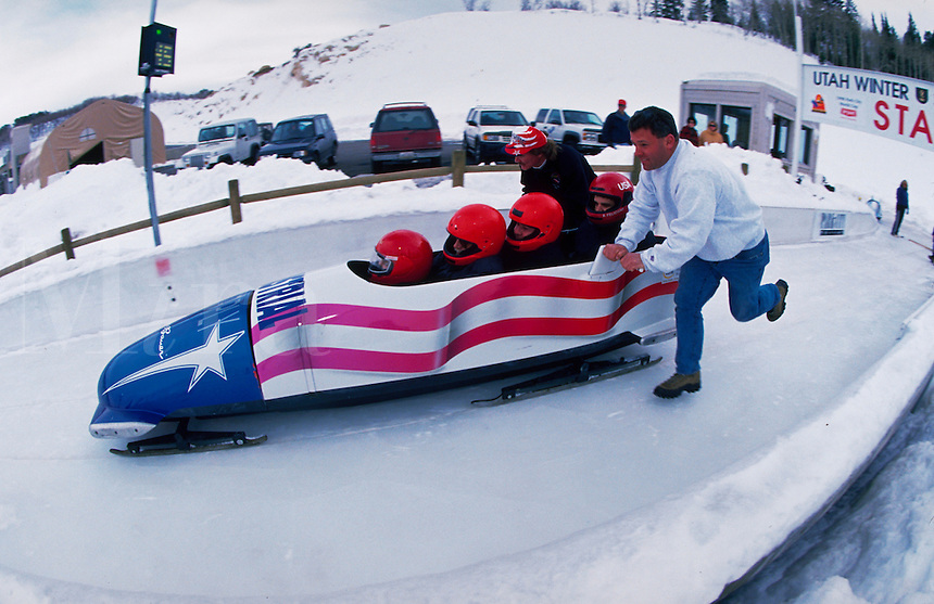 Public rides on the Olympic Bobsled Track at Winter Sports Park. Park City, Utah.