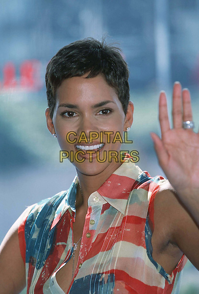 HALLE BERRY..Ref: 11040..waving, red white & blue, headshot, portrait..www.capitalpictures.com..sales@capitalpictures.com..©Capital Pictures