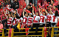 BOGOTA - COLOMBIA - 25-03-2017: Hinchas de Independiente Santa Fe, animan a su equipo, durante partido aplazado de la fecha  entre Independiente Santa Fe y Millonarios, por la Liga Aguila I-2017, en el estadio Nemesio Camacho El Campin de la ciudad de Bogota. / Fans Independiente Santa Fe, cheer for their team during a postponed match of the date 1 between Independiente Santa Fe and Millonarios, for the Liga Aguila I -2017 at the Nemesio Camacho El Campin Stadium in Bogota city, Photo: VizzorImage / Luis Ramirez / Staff.
