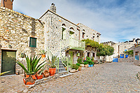 Traditional houses in the medieval mastic village of Avgonyma on the island of Chios, Greece