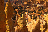 "AJ3838, Bryce Canyon, Bryce Canyon National Park, Paunsaugunt Plateau, Utah, Colorful rock formations and pillars called """"hoodoos"""" rise in jagged towers throughout Bryce Canyon Nat'l Park in the state of Utah."