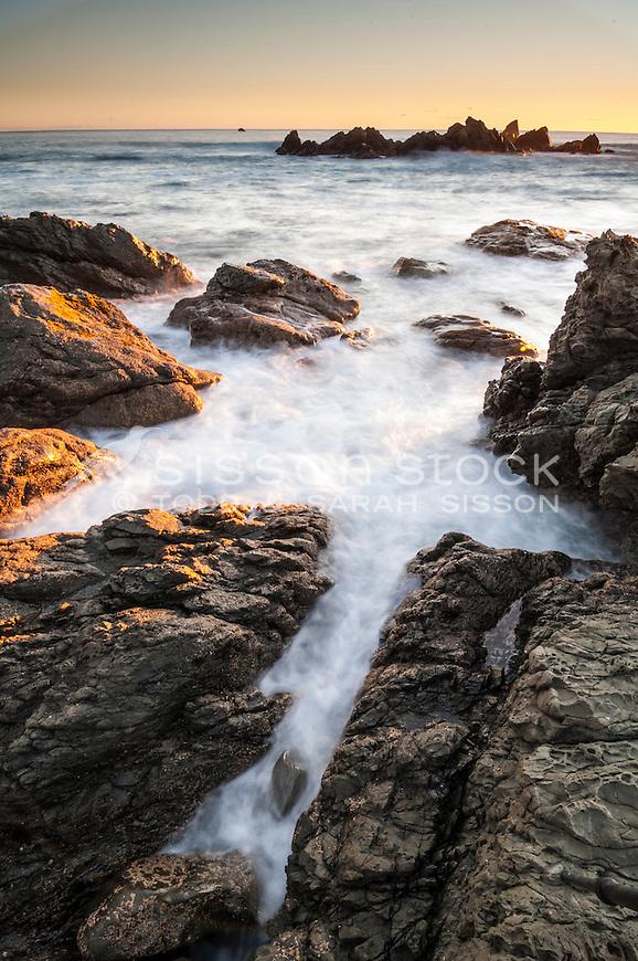 Sunrise seascape image - Kaikoura Coast, South Island New Zealand - stock photo, canvas, fine art print