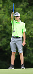 Owen Sanders of the Old Hickory Golf Club lines up a putt on the third green on the first day of the Metropolitan Amateur Golf Association's 20th Junior Amateur Championship being held at the St. Clair Country Club in Belleville, IL on July 1, 2019. <br /> Tim Vizer/Special to STLhighschoolsports.com