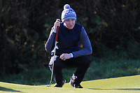 Sean Doyle (Black Bush) on the 11th green during Round 3 of the Ulster Boys Championship at Royal Portrush Golf Club, Valley Links, Portrush, Co. Antrim on Thursday 1st Nov 2018.<br /> Picture:  Thos Caffrey / www.golffile.ie<br /> <br /> All photo usage must carry mandatory copyright credit (&copy; Golffile | Thos Caffrey)