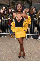 Justine Skye<br /> arrives for the Topshop Unique AW17 show as part of London Fashion Week AW17 at Tate Modern, London.<br /> <br /> <br /> &copy;Ash Knotek  D3232  19/02/2017