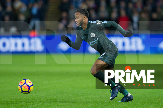 Raheem Sterling of Manchester City during the EPL - Premier League match between Swansea City and Manchester City at the Liberty Stadium, Swansea, Wales on 13 December 2017. Photo by Mark  Hawkins / PRiME Media Images.