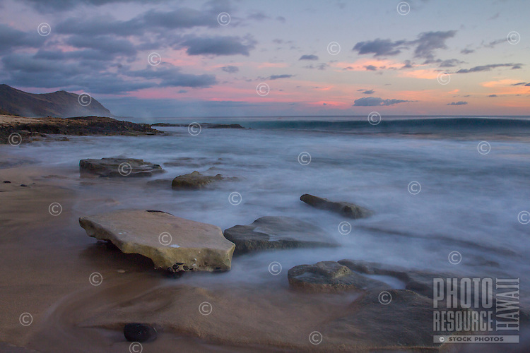 Last light on the West Side of O'ahu, looking down the coast with a slower shutter speed.