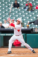 Casey Grayson #18 of the Houston Cougars follows through on an RBI double against the Texas Tech Red Raiders at Minute Maid Park on February 28, 2014 in Houston, Texas.  The Cougars defeated the Red Raiders 9-0.  (Brian Westerholt/Four Seam Images)
