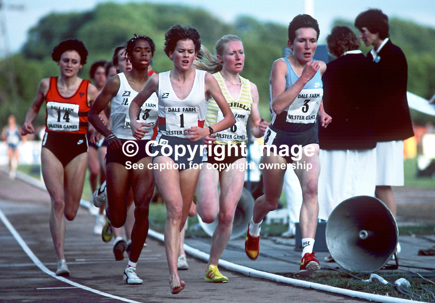 Zola Budd, born South Africa, representing UK, competitor, Dale Farm Games, Mary Peters Track, Belfast, N Ireland, June 1985. 19850614ZB2..Copyright Image from Victor Patterson, 54 Dorchester Park, Belfast, UK, BT9 6RJ..Tel: +44 28 9066 1296.Mob: +44 7802 353836.Voicemail +44 20 8816 7153.Skype: victorpattersonbelfast.Email: victorpatterson@me.com.Email: victorpatterson@ireland.com (back-up)..IMPORTANT: If you wish to use this image or any other of my images please go to www.victorpatterson.com and click on the Terms & Conditions. Then contact me by email or phone with the reference number(s) of the image(s) concerned.