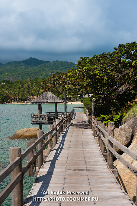 Boardwalk near lighthouse of Phangan island, Thailand