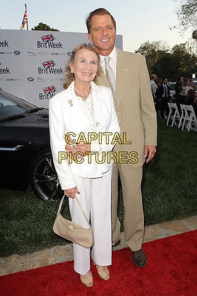 "Juliet Mills & Maxwell Caulfield.7th Annual BritWeek Festival ""A Salute To Old Hollywood"" Launch Party held at the British Consul General's Residence, Los Angeles, California, USA..April 23rd, 2013.full length white beige suit married husband wife.CAP/ADM/KB.©Kevan Brooks/AdMedia/Capital Pictures"