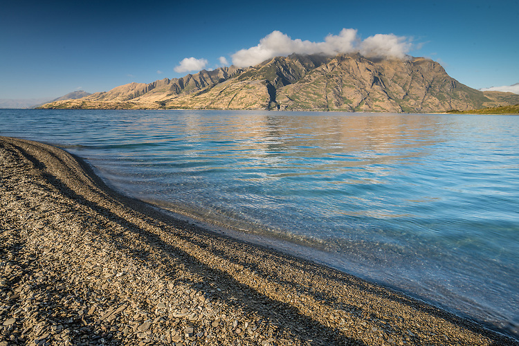 Landscape photo of a summer morning at Lake Hawea, South Island, New Zealand- stock photo, canvas, fine art print