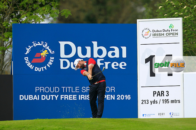 Andy Sullivan (ENG) on the 14th tee during Wednesday's Pro-Am round of the Dubai Duty Free Irish Open presented  by the Rory Foundation at The K Club, Straffan, Co. Kildare<br /> Picture: Golffile | Thos Caffrey<br /> <br /> All photo usage must carry mandatory copyright credit <br /> (&copy; Golffile | Thos Caffrey)