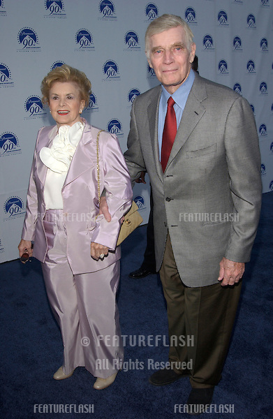 Actor CHARLTON HESTON & wife LYDIA at the Paramount Pictures 90th Anniversary Gala at Paramount Studios, Hollywood..14JUL2002.  © Paul Smith / Featureflash