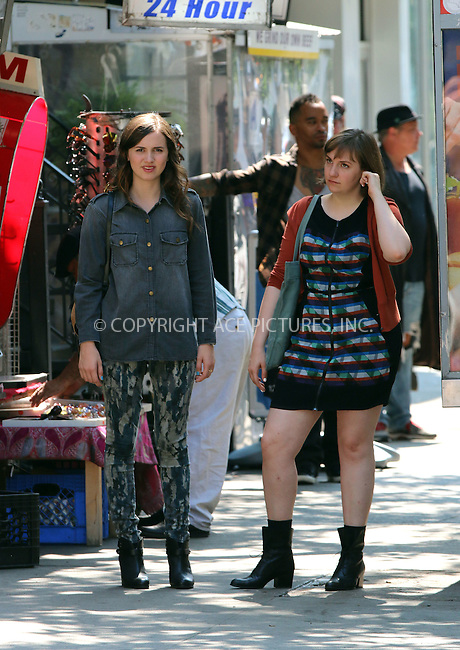 ACEPIXS.COM<br /> <br /> July 23 2014, New York City<br /> <br /> Actors Maude Apatow (L) and Lena Dunham shoot a scene for the TV show 'Girls' on July 23 2014 in New York City<br /> <br /> <br /> By Line: Zelig Shaul/ACE Pictures<br /> <br /> ACE Pictures, Inc.<br /> www.acepixs.com<br /> Email: info@acepixs.com<br /> Tel: 646 769 0430