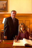 August 30, 2001, Montreal, Quebec, Canada<br /> <br /> Pierre Bourque, Montreal Mayor (at that time)  (L) look a tEmmanuelle Beart (B&eacute;art), French actress and President of the 25th World Film Festival Jury (Festival des Films du Monde) as she sign the Montreal's gold book during a reception at Montreal City Hall  August 30 , 2001 in Montreal, CANADA.