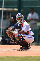 GCL Braves catcher Alejandro Flores (50) looks to the dugout during a game against the GCL Blue Jays on June 27, 2014 at the ESPN Wide World of Sports in Orlando, Florida.  GCL Braves defeated GCL Blue Jays 10-9.  (Mike Janes/Four Seam Images)