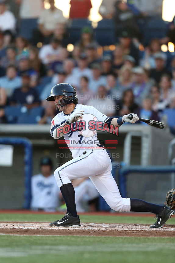 First overall draft pick in the 2015 Major League Baseball Player Draft, Dansby Swanson (7) of the Hillsboro Hops bats during a game against the Boise Hawks at Ron Tonkin Field on August 21, 2015 in Hillsboro, Oregon. Boise defeated Hillsboro, 7-1. (Larry Goren/Four Seam Images)