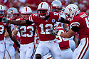04 Sep 2010: Nebraska's Courtney Osborne celebrates the tackle on the kick-off in the first quarter against the Western Kentucky Hilltoppers at Memorial Staduim in Lincoln, Nebraska. Nebraska defeated Western Kentucky 49 to 10.