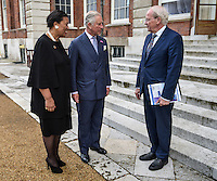 12 July 2016 - (L-R) Patricia Scotland, Baroness Scotland of Asthal, Commonwealth Secretary General, Prince Charles Prince of Wales and Carl Wright, Secretary General of the Commonwealth Local Government Forum, meet at Marlborough House in London. HRH The Prince of Wales was attending the Commonwealth Local Government Forum's Annual Reception. HRH The Prince of Wales met delegates and heard issues around sustainability and urbanisation being discussed at the CLGF's second Commonwealth Sustainable Cities Network conference. Photo Credit: ALPR/AdMedia