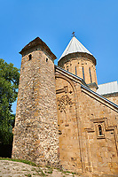 Pictures &amp; images of the Church of the Assumption built in 1689. and a a tower with a stepped pyramidal roof of Svanetian type,  Ananuri castle complex &amp; Georgian Orthodox churches, 17th century, Georgia (country).<br /> <br /> Ananuri castle is situated next to the Military Road overlooking the Aragvi River in Georgia, about 45 miles (72 kilometres) from Tbilisi. It was the castle of the eristavis (Dukes) of Aragvi from the 13th century and was the scene of numerous battles. In 2007 Ananuri castle was enscribed on the   UNESCO World Heritage Site tentative list.