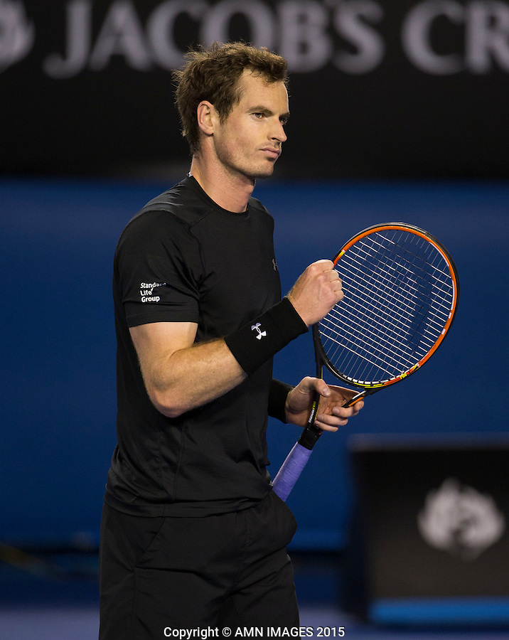 ANDY MURRAY (GBR)<br /> <br />  - Australian Open 2015 - Grand Slam -  Melbourne Park - Melbourne - Victoria - Australia  - 27 January 2015. <br /> &copy; AMN IMAGES