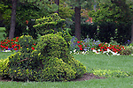 "A re-creation in sculpted shrubbery of French artist Georges Seurat's famous painting, ""A Sunday Afternoon on the Ile De La Grande.""<br />