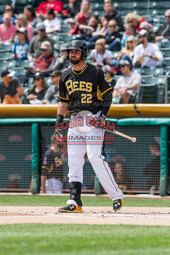 Kaleb Cowart (22) of the Salt Lake Bees at bat against the Sacramento River Cats in Pacific Coast League action at Smith's Ballpark on May 01, 2016 in Salt Lake City, Utah. Sacramento defeated Salt Lake 16-6.  (Stephen Smith/Four Seam Images)