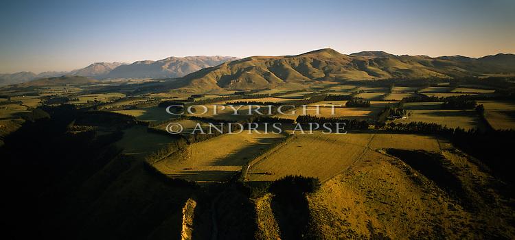 Aerial view of farmland near the Rakaia Valley. Canterbury Region. New Zealand.