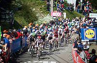 peloton up the infamous Mur de Huy (1300m/9.8%)<br /> <br /> Women's Fl&egrave;che Wallonne 2016