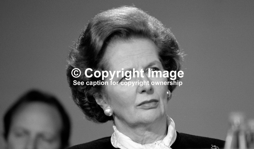 Margaret Thatcher, MP, Conservative Party, Prime Minister, UK, 19871034MT6..Copyright Image from Victor Patterson, 54 Dorchester Park, Belfast, UK, BT9 6RJ..Tel: +44 28 9066 1296.Mob: +44 7802 353836.Voicemail +44 20 8816 7153.Skype: victorpattersonbelfast.Email: victorpatterson@me.com.Email: victorpatterson@ireland.com (back-up)..IMPORTANT: If you wish to use this image or any other of my images please go to www.victorpatterson.com and click on the Terms & Conditions. Then contact me by email or phone with the reference number(s) of the image(s) concerned.