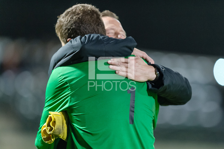 November 13, 2013:  Drew Hutchins and Head Coach Jeremy Gunn after the Stanford vs Cal men's soccer match in Stanford, California.  Stanford won 2-1 in overtime.
