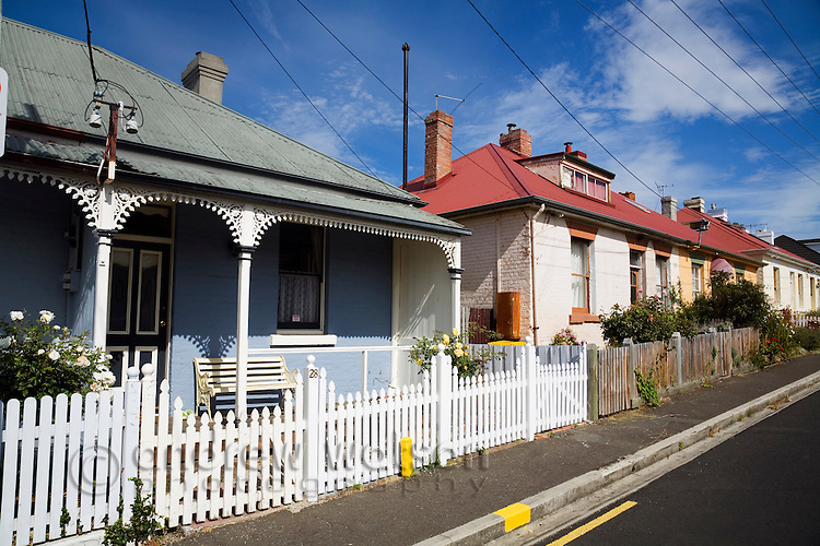 19th century cottages in historic Battery Point - a maritime village on Sullivans Cove, Hobart, Tasmania, Australia