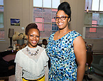WATERTOWN, CT-042518JS21- Jacquee Porter, founder and president of Save Girls on F.Y.E.R., left, with Event Coordinator Latisha Brathwaite, at the Save Girls on F.Y.E.R. organization's fifth anniversary celebration held at Old Platform 6 in Watertown. <br /> Jim Shannon Republican American