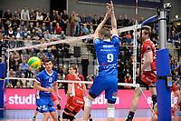 GRONINGEN - Volleybal, Abiant Lycurgus - Noriko Maaseik, Alfa College , Champions League , seizoen 2017-2018, 08-11-2017 Lycurgus speler Stijn van Schie