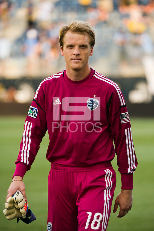 Sporting Kansas City goalkeeper Eric Kronberg (18). Sporting Kansas City defeated the Philadelphia Union 2-0 during the semifinals of the 2012 Lamar Hunt US Open Cup at PPL Park in Chester, PA, on July 11, 2012.