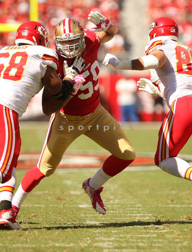 San Francisco 49ers Aaron Lynch (59) during a game against the Kansas City Chiefs on October 5, 2014 at Levi's Stadium in Santa Clara, CA. the 49ers beat the Chiefs 22-17.