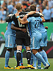 Josh Saunders #12, NYC Football Club goalie (black jersey), and teammates celebrate after their 2-0 win over the New York Red Bulls in a Major League Soccer match at Yankee Stadium on Sunday, July 3, 2016.