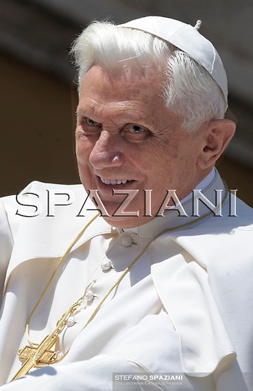 Pope Benedict XVI acknowledges faithful during his weekly general audience, in St. Peter's Square, at the Vatican, Wednesday, May 6, 2009.